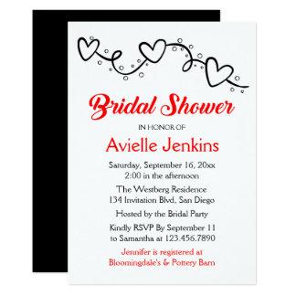 Épouser nuptiale rouge et noir de coeurs de douche carton d'invitation  12,7 cm x 17,78 cm