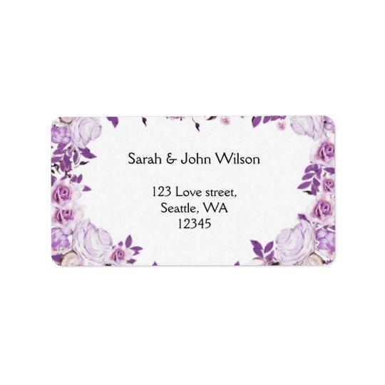 Épouser pourpre de roses de lavande de cadre de étiquette d'adresse