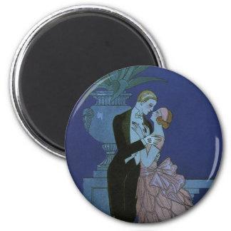 Épouser Romance de nouveaux mariés d'amour vintage Magnet Rond 8 Cm