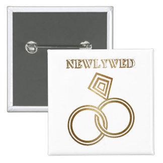 Épouser romantique d'anneaux d'or de nouveaux badge