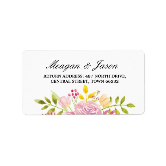 Épouser rose d'autocollants de fleur d'étiquettes étiquette d'adresse