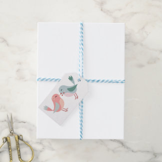 Épouser rose et bleu de Merci de perruches Étiquettes-cadeau