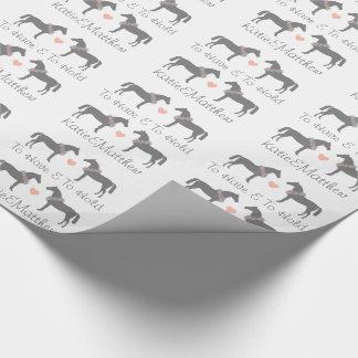 Épouser rose et gris de chevaux papier cadeau