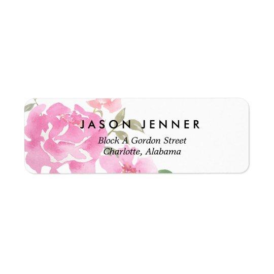 Épouser rose floral de pivoines d'aquarelle chic étiquettes d'adresse retour
