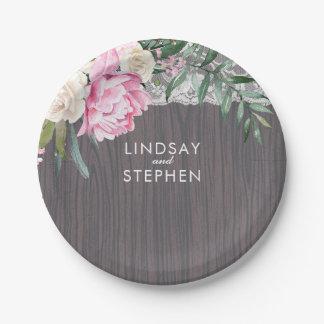 Épouser rose vintage du bois de fleurs de dentelle assiettes en papier