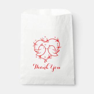 Épouser rouge de coeur de perruches de Merci Sachets En Papier