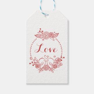 Épouser rouge de perruches d'amour floral de étiquettes-cadeau