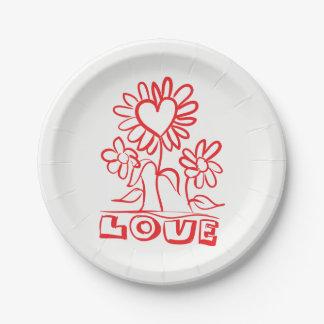 Épouser rouge floral de fleurs et de coeurs assiettes en papier