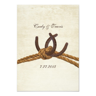 Épouser rustique de fers à cheval de pays carton d'invitation  12,7 cm x 17,78 cm