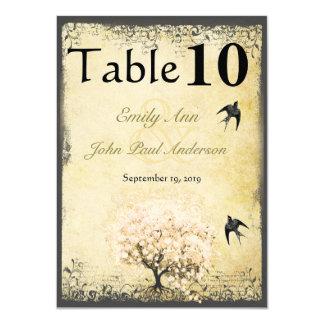 Épouser vintage d'oiseaux d'arbre de rose de carton d'invitation  11,43 cm x 15,87 cm