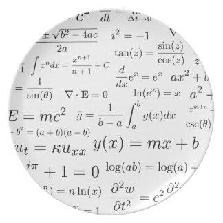 Équations de plat de mélamine de maths et de la assiettes en mélamine