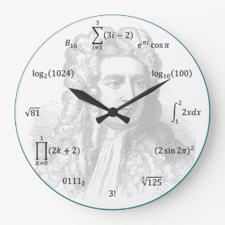 Équations et notations de maths grande horloge ronde