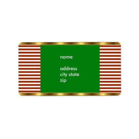 Équilibre blanc rouge d'or de rayure d'adresse d'é étiquette d'adresse