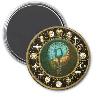 Équilibre d'harmonie de paix du monde magnet rond 7,50 cm