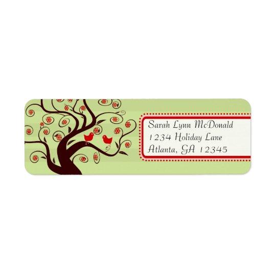 Équilibre rose rouge d'oiseaux d'arbre de rayure étiquette d'adresse retour