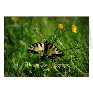 Équinoxe de papillon et de ressort de renoncules carte de vœux