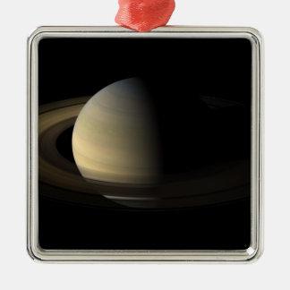 Équinoxe de Saturn Ornement Carré Argenté