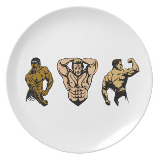 Équipage de muscle - frappez une pose assiettes en mélamine