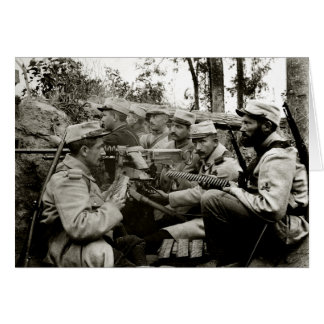 Équipage français de mitrailleuse de WWI Carte De Vœux