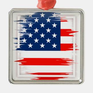 Équipe de football américaine ornement carré argenté
