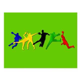 Équipe de handball et cartes postales de joueurs
