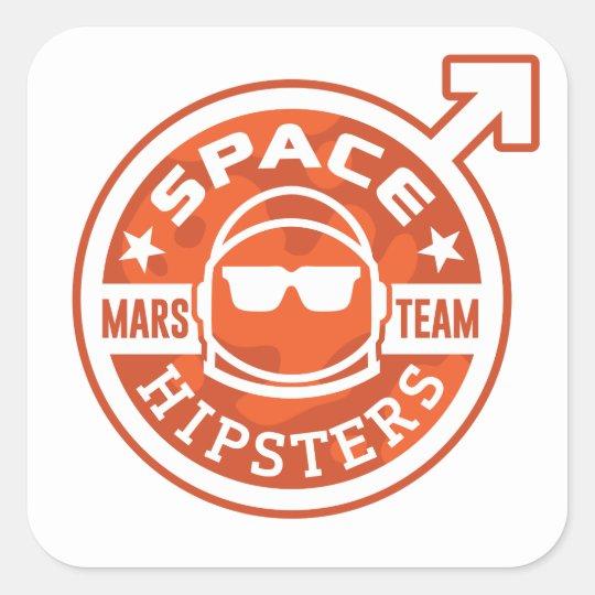 """ÉQUIPE de Hipsters® MARS de l'espace 3"""" Sticker Carré"""