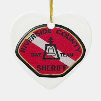 Équipe de piqué de shérif de rive ornement cœur en céramique