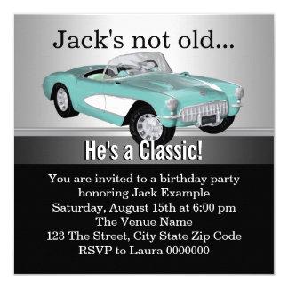 Équipe la fête d'anniversaire de voiture ancienne faire-parts