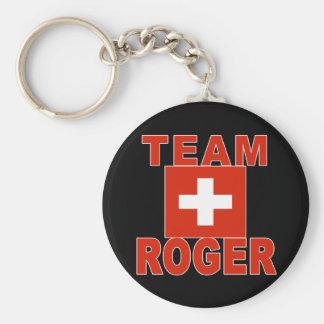 Équipe Roger avec le drapeau suisse Porte-clé Rond