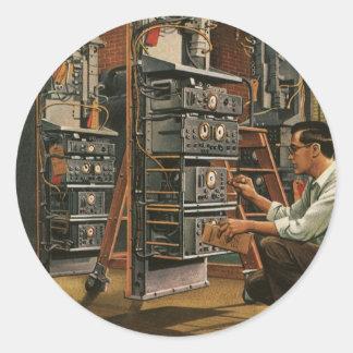 Équipement vintage de fixation de technicien de sticker rond