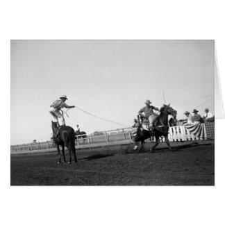 Équipez la position sur un cheval roping un cheval carte de vœux