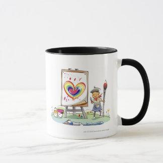 Équipez tenir un pinceau et se tenir prêt un mug
