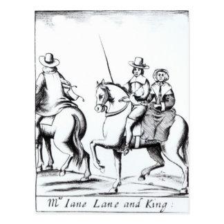 Équitation de Mme Jane Lane avec le Roi Charles II Carte Postale
