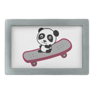 Équitation de panda sur la planche à roulettes boucle de ceinture rectangulaire