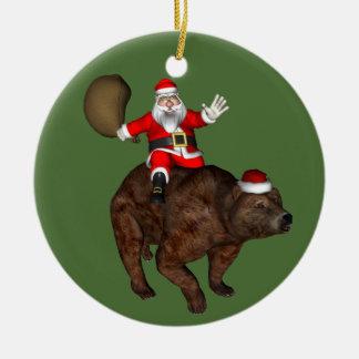 Équitation drôle du père noël sur l'ours de Brown Ornement De Noël