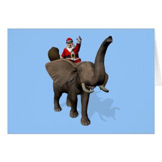 Équitation du père noël sur l'éléphant cartes