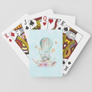 Équitation lunatique de lapin dans un ballon à air jeu de cartes