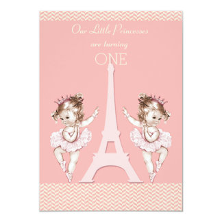 Ęr anniversaire de ballerines de chevrons jumeaux carton d'invitation  12,7 cm x 17,78 cm