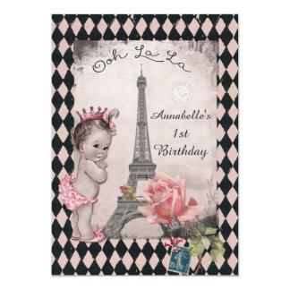 Ęr anniversaire de bébé vintage de princesse Tour Carton D'invitation 12,7 Cm X 17,78 Cm
