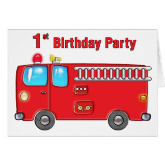 Ęr anniversaire de camion de pompiers fabuleux carte de vœux