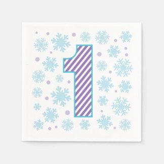 Ęr anniversaire de flocon de neige pourpre serviette jetable