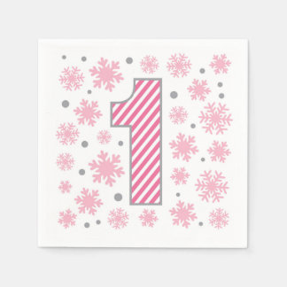 Ęr anniversaire de flocon de neige rose serviettes jetables