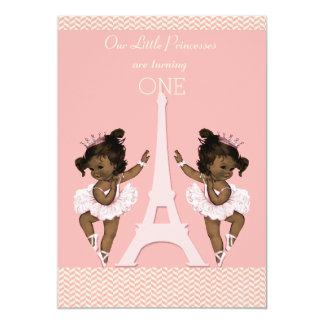 Ęr anniversaire de jumeaux de Tour Eiffel ethnique Carton D'invitation 12,7 Cm X 17,78 Cm