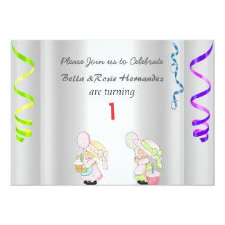 Ęr argent de partie de faire-part d'anniversaire carton d'invitation  12,7 cm x 17,78 cm