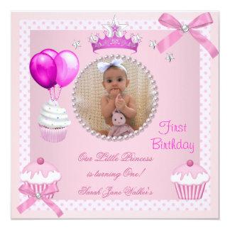 ęr Bébé blanc de perle de petits gâteaux de rose Carton D'invitation 13,33 Cm