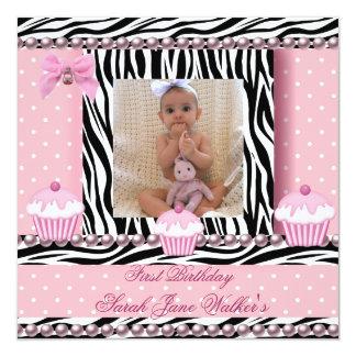 ęr Bébé de zèbre de petits gâteaux de rose de Carton D'invitation 13,33 Cm
