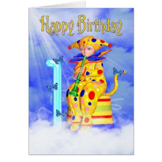 ęr Carte d'anniversaire - petit clown mignon de