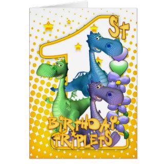 ęr Carte d'anniversaire pour des triplets avec