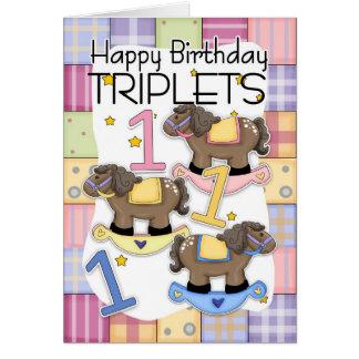 ęr Carte d'anniversaire pour des triplets avec des