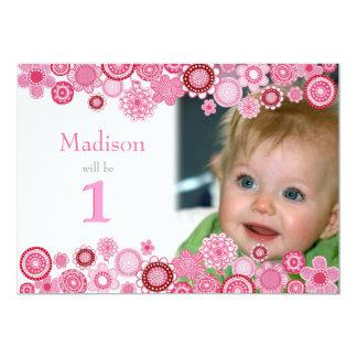 ęr Carte photo rose d'invitation de partie Carton D'invitation 12,7 Cm X 17,78 Cm